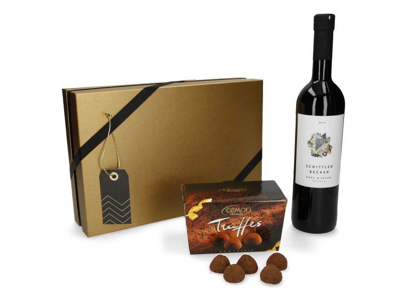 """Geschenkset Wein & Trüffel """"Die zarte Versuchung"""" (2-teilig)"""