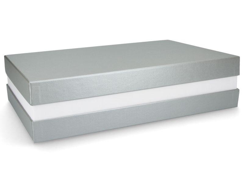 Premium-Geschenkbox - Geschenkverpackung Made in Germany (Silber, Weiß, Silber) 33x8x22 cm