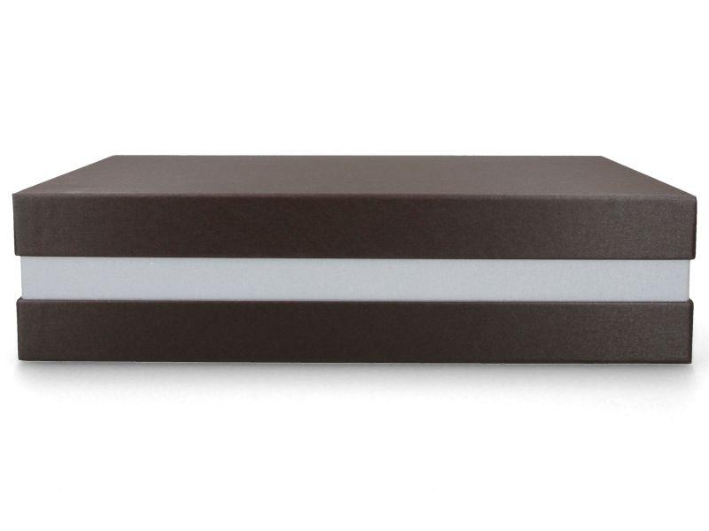 Premium+ Geschenkbox - Geschenkverpackung Made in Germany (Braun metallic, Silber metallic, Braun metallic) 33x8x22 cm