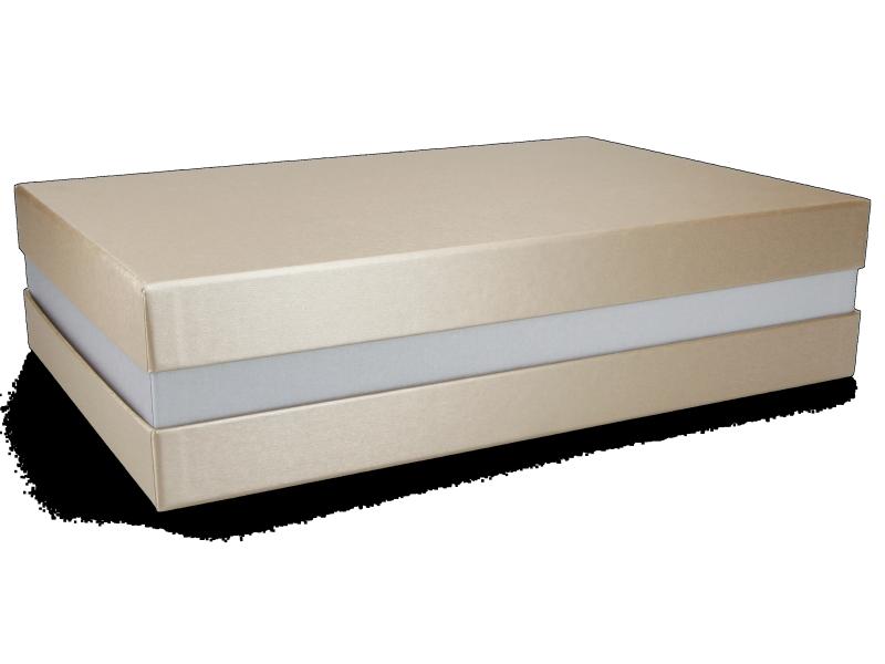 Premium+ Geschenkbox - Geschenkverpackung Made in Germany (Gold, Silber, Gold) 33x8x22 cm