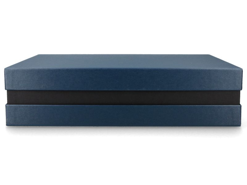 Premium+ Geschenkbox - Geschenkverpackung Made in Germany (Blau metallic, Schwarz, Blau metallic) 33x8x22 cm