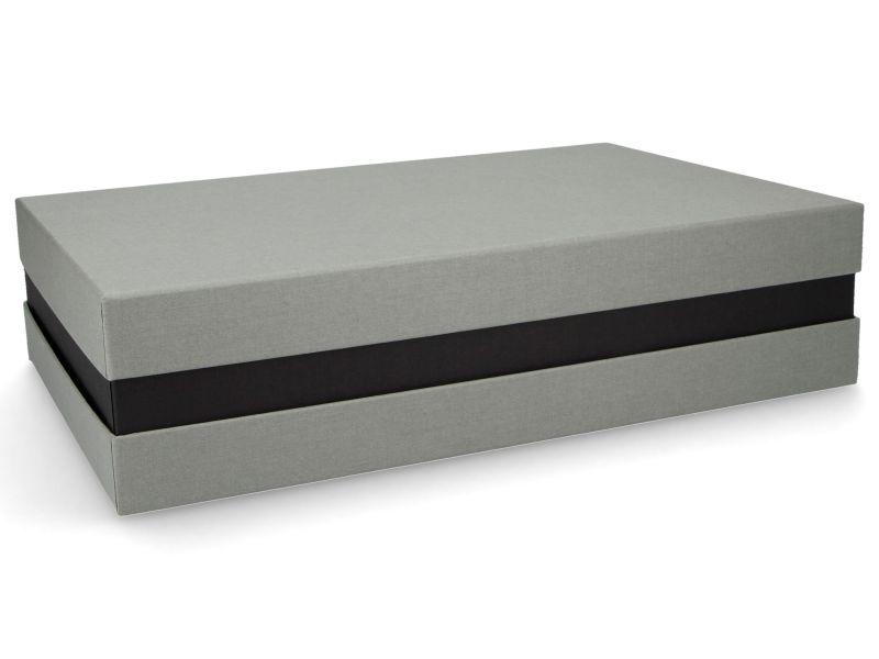 Premium-Geschenkbox - Geschenkverpackung Made in Germany (Grau, Schwarz) 33x8x22 cm