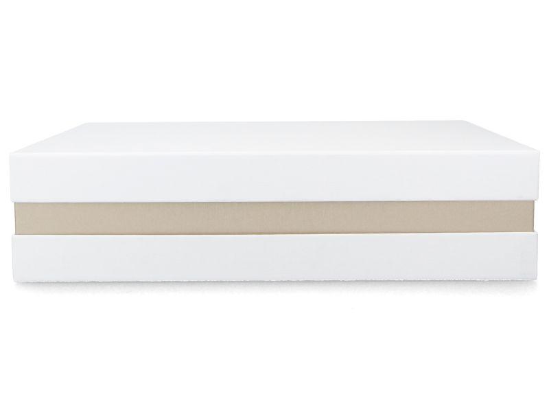 Premium+ Geschenkbox - Geschenkverpackung Made in Germany (Weiß, Gold metallic, Weiß) 33x8x22 cm