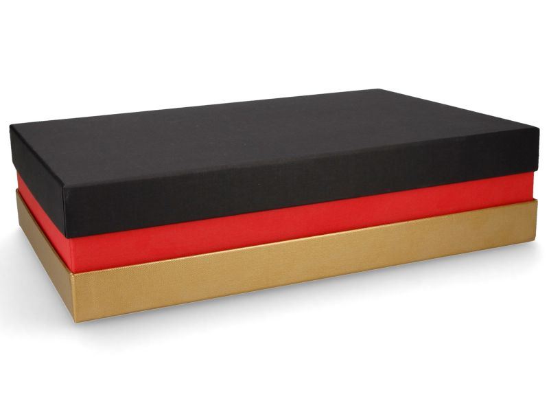 Premium-Geschenkbox - Geschenkverpackung Made in Germany (Schwarz, Rot, Gold) 33x8x22 cm