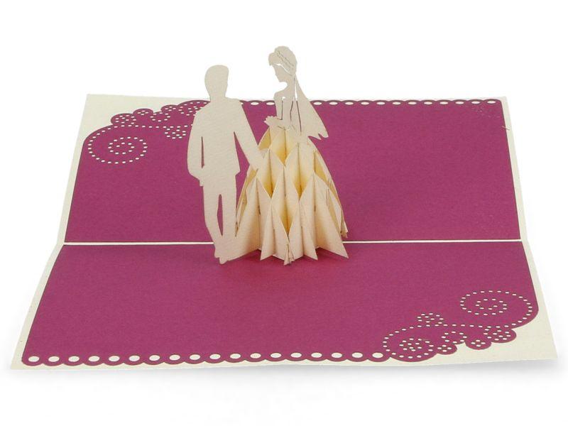 3D Pop Up Hochzeitskarte Klappkarte Glückwunsche Hochzeit Einladung originell