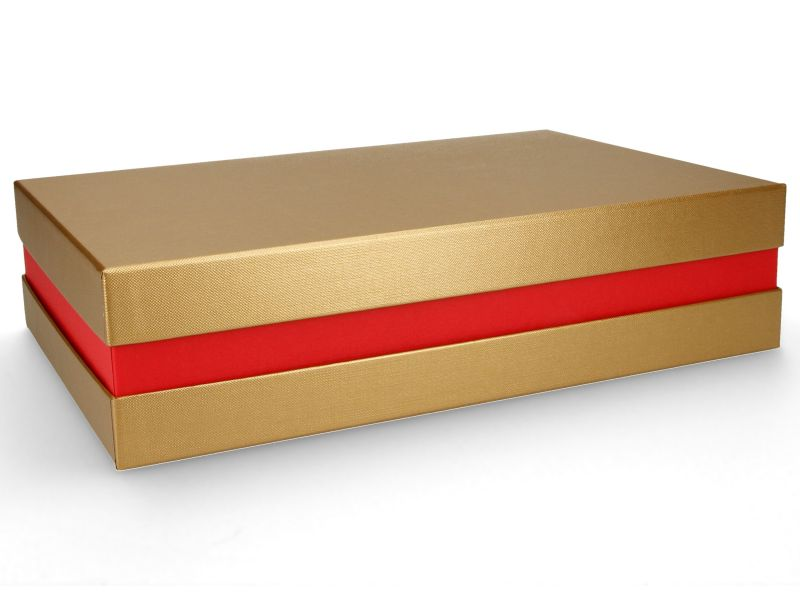 Premium-Geschenkbox - Geschenkverpackung Made in Germany (Gold, Rot, Gold) 33x8x22 cm