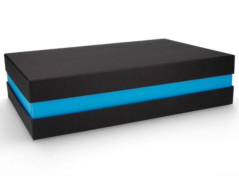 Premium-Geschenkbox - Geschenkverpackung Made in Germany (Schwarz, Blau, Schwarz) 33x8x22 cm