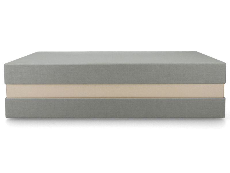 Premium+ Geschenkbox - Geschenkverpackung Made in Germany (Grau, Gold metallic, Grau) 33x8x22 cm