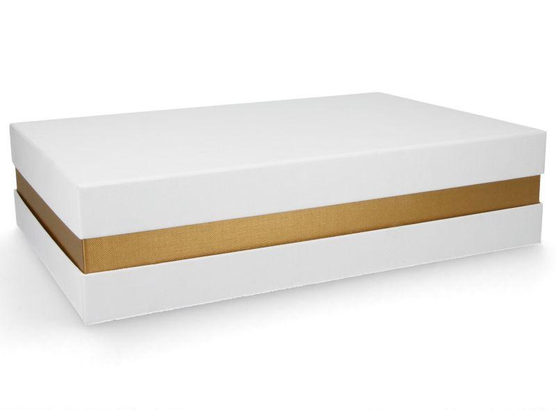 Premium-Geschenkbox - Geschenkverpackung Made in Germany (Weiß, Gold, Weiß) 33x8x22 cm